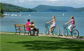 Biking along Lake Otsego