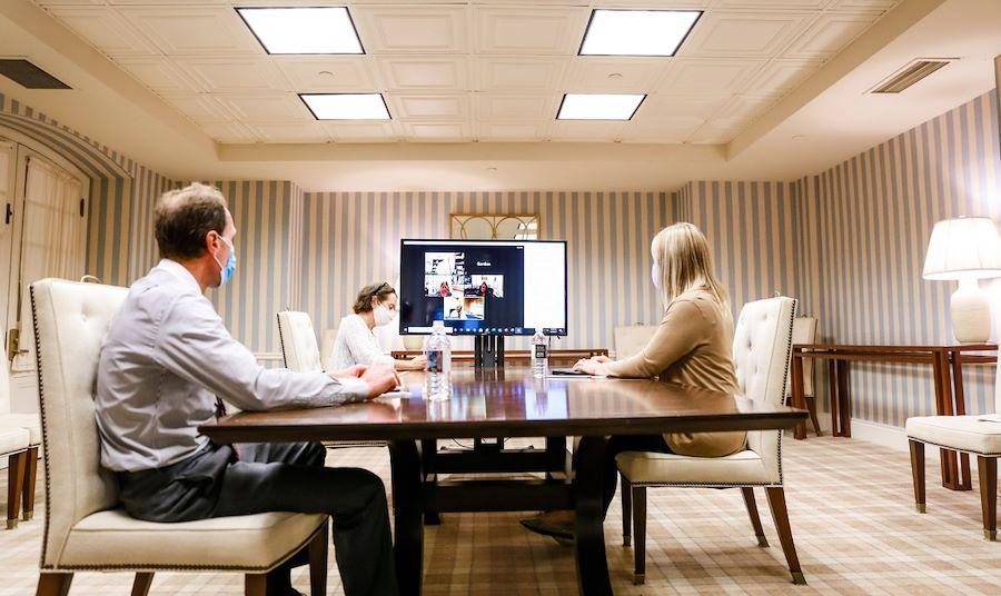 Virtual Meeting in Board Room